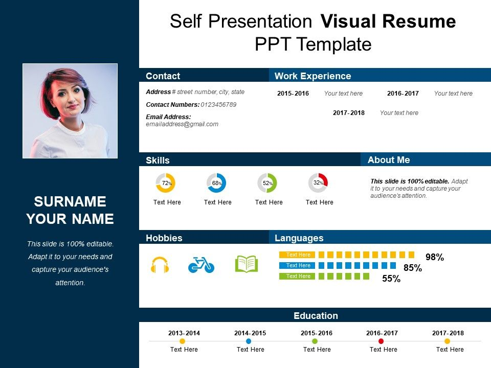 Self Presentation Visual Resume Ppt Template PowerPoint - visual resume