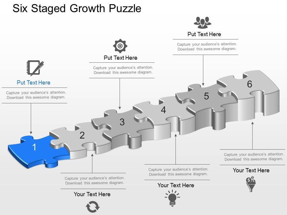 Six Staged Growth Puzzle Powerpoint Template Slide Templates - puzzle powerpoint template