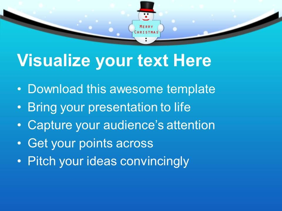 Snowman With Banner Merry Christmas Winter Powerpoint Templates Ppt