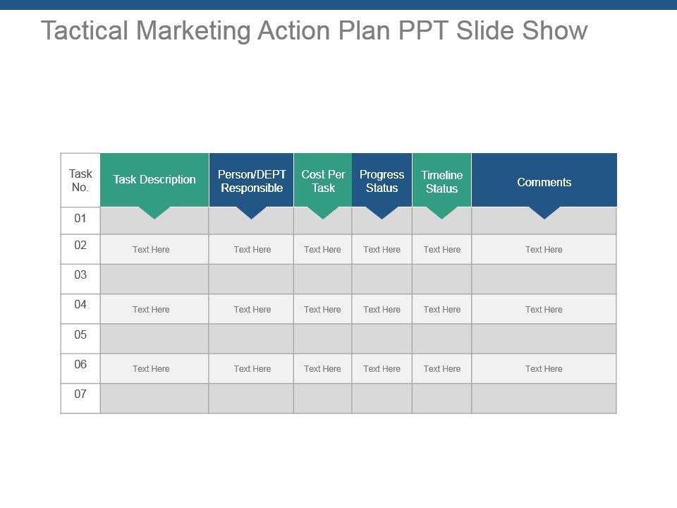 Tactical Marketing Action Plan Ppt Slide Show Template - marketing action plan template