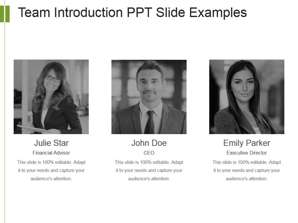 Team Introduction Ppt Slide Examples Templates PowerPoint