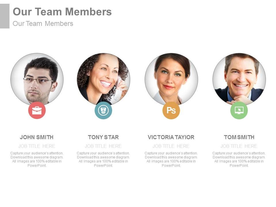 Team Members For Introduction Powerpoint Slide PowerPoint
