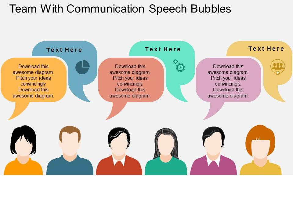 Team With Communication Speech Bubbles Flat Powerpoint Design - bubbles power point