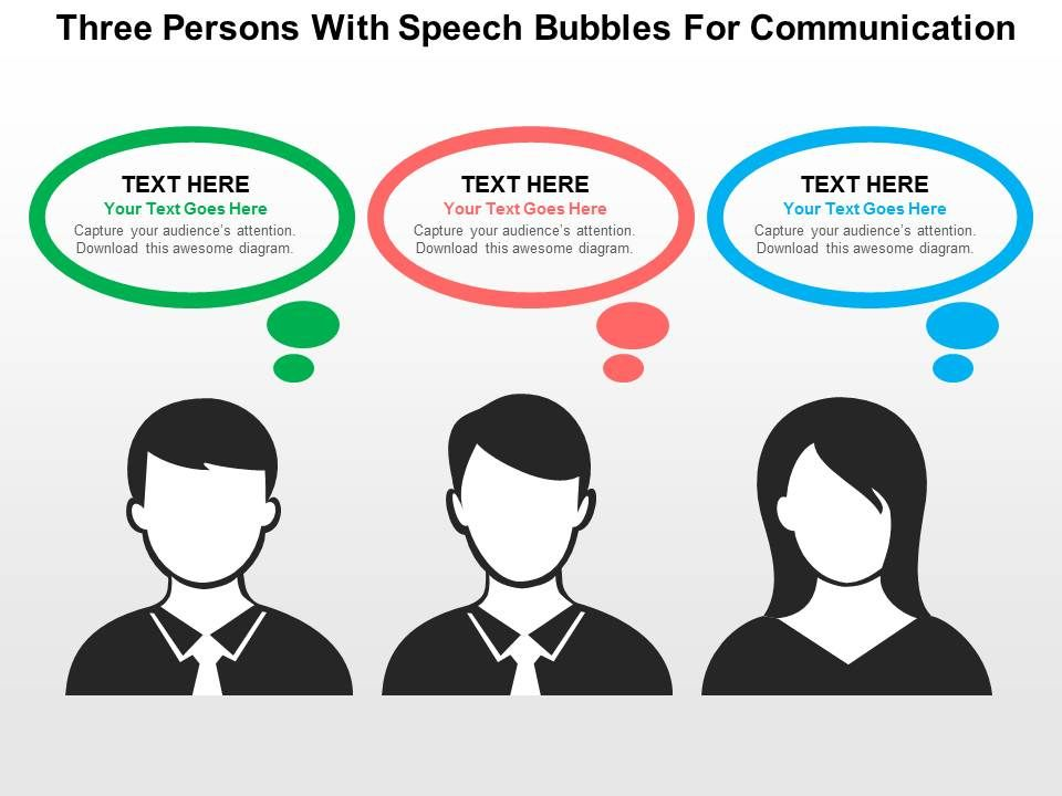 Three Persons With Speech Bubbles For Communication Flat Powerpoint