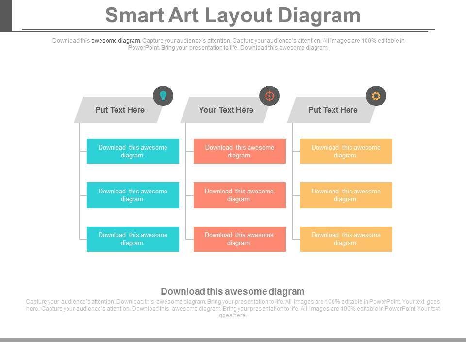 Three Tags Smart Art Layout Diagram Flat Powerpoint Design - smartart powerpoint template