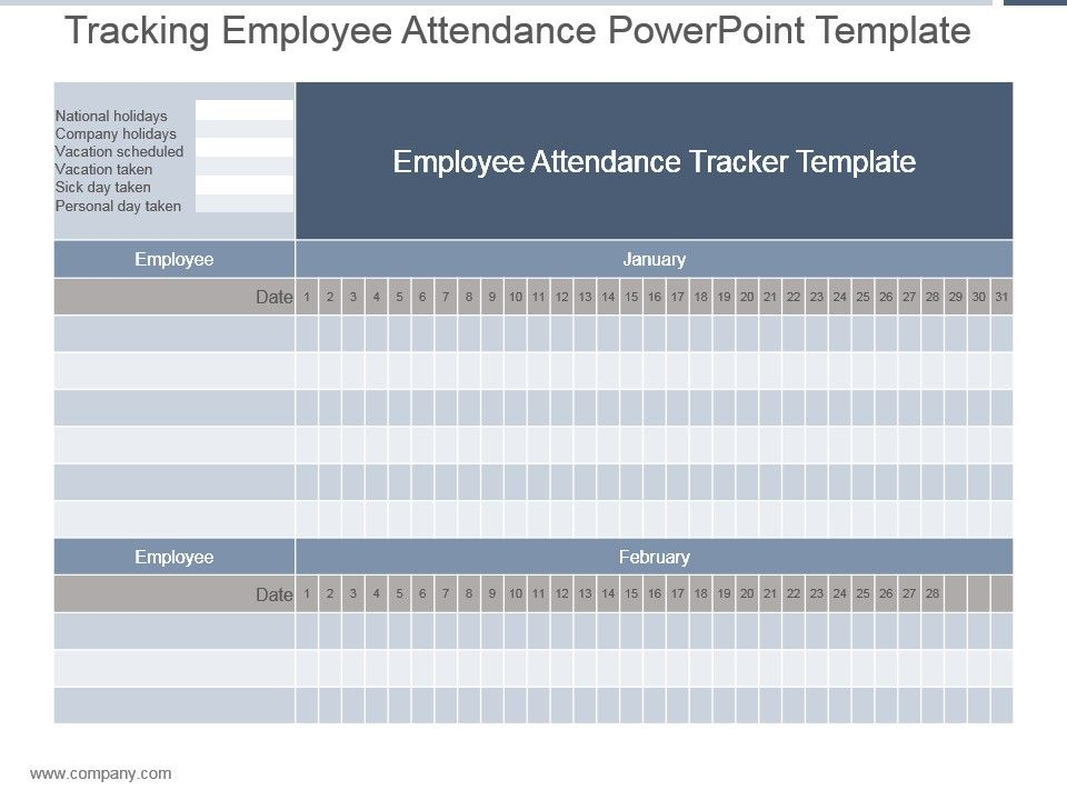 Tracking Employee Attendance Powerpoint Template PowerPoint - attendance tracking template