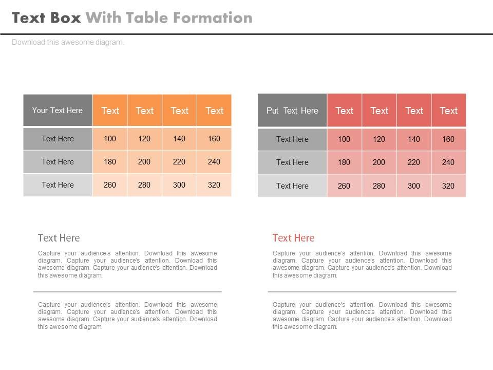 Two Text Boxes For Table Formation Powerpoint Slides PowerPoint - sample power point calendar