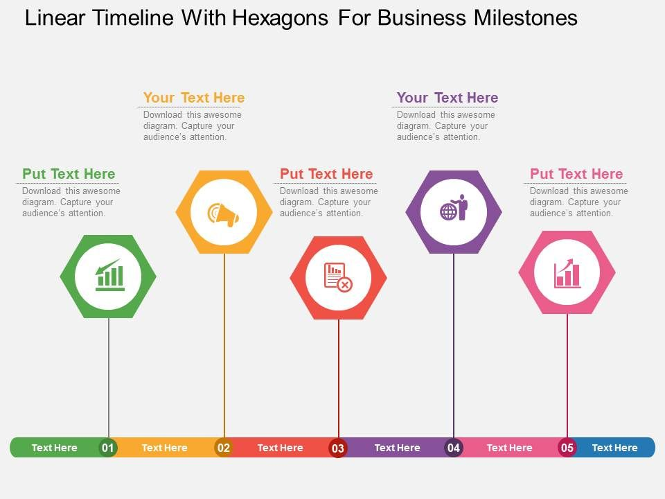 uf Linear Timeline With Hexagons For Business Milestones Flat - baby milestone timeline