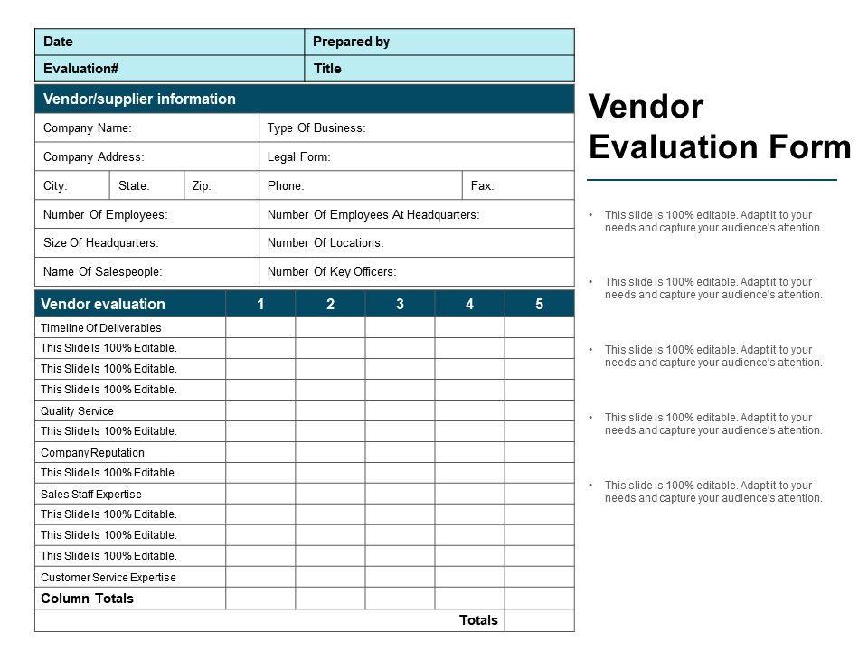 Vendor Evaluation Form Ppt Ideas PowerPoint Templates Designs