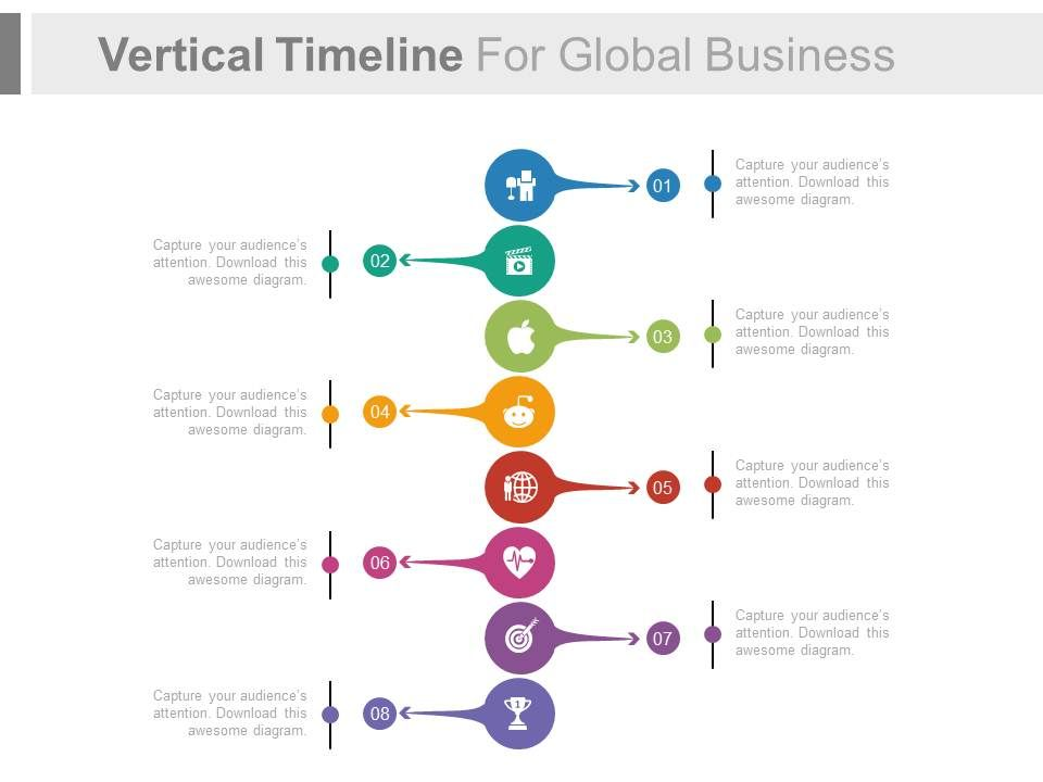 Vertical Timeline For Global Business Success Analysis Flat - sample powerpoint timeline