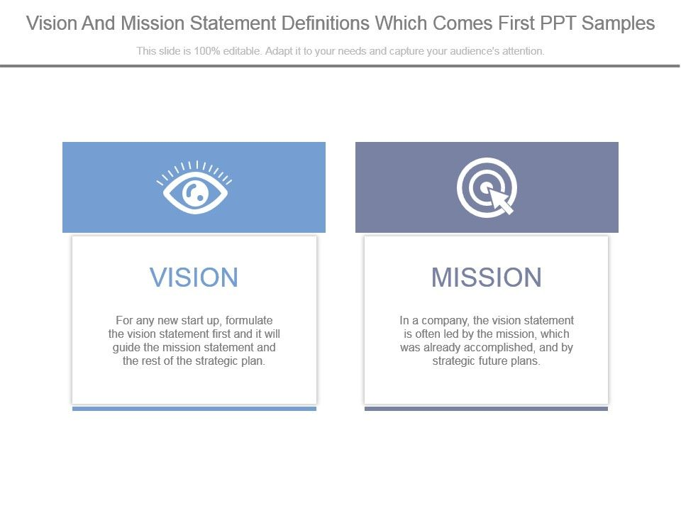 Vision And Mission Statement Definitions Which Comes First Ppt