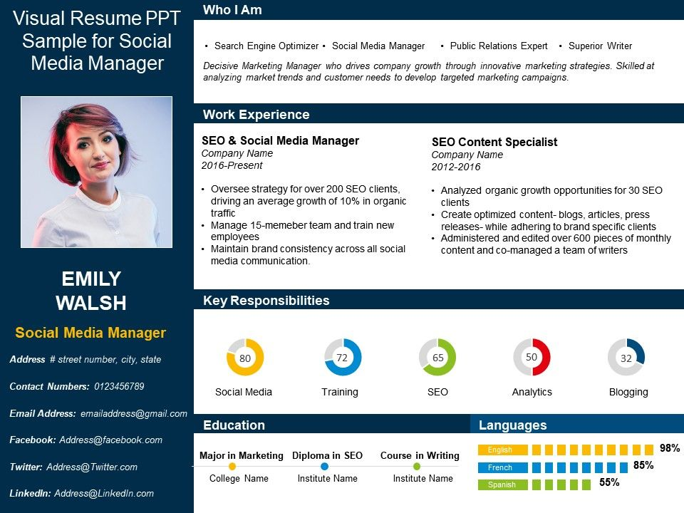 Visual Resume Ppt Sample For Social Media Manager PowerPoint Slide