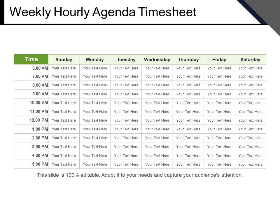 Weekly Hourly Agenda Timesheet Powerpoint Slides PowerPoint Slide