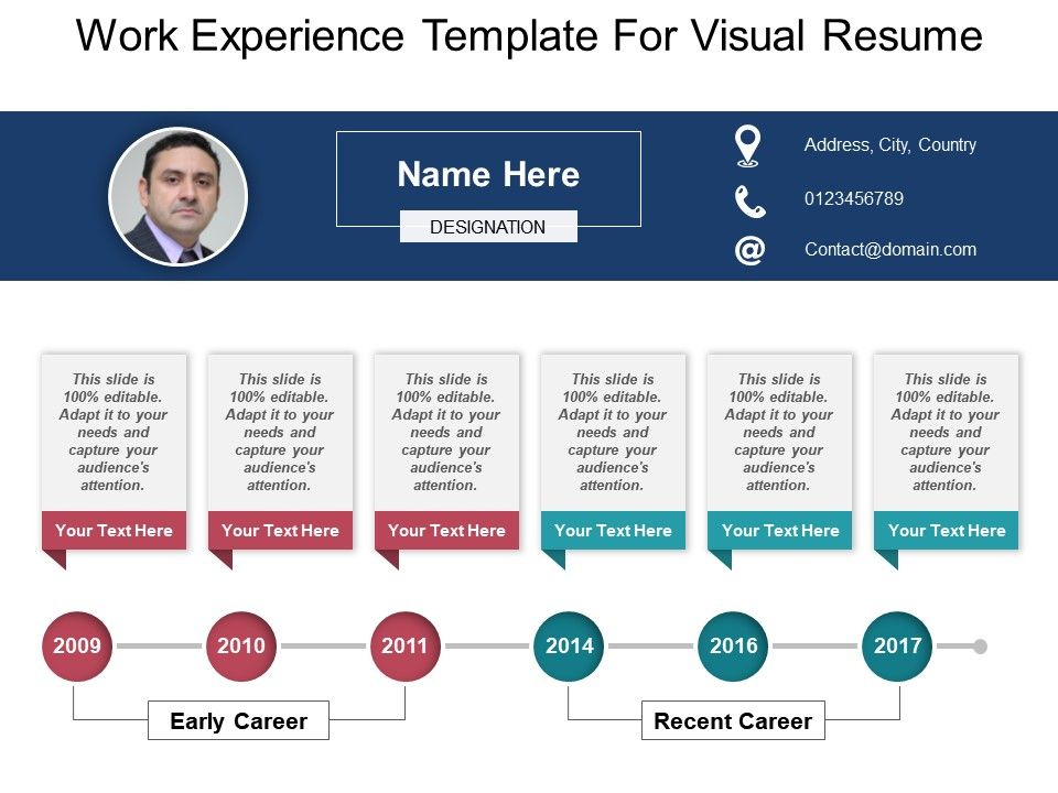 Work Experience Template For Visual Resume Powerpoint Ideas - resume presentation
