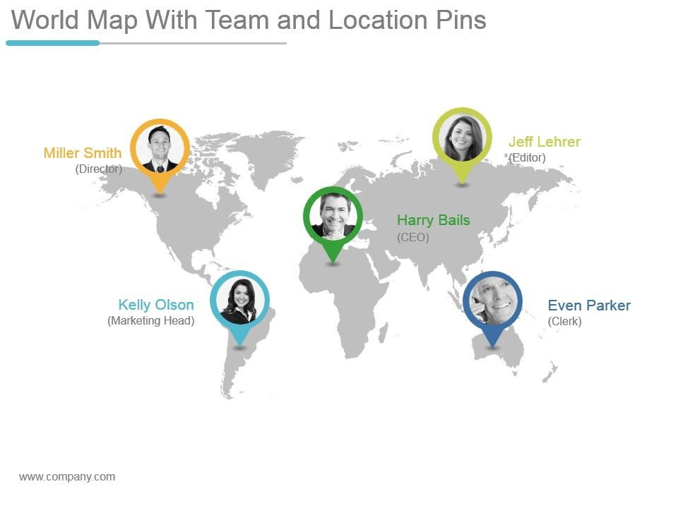 World Map With Team And Location Pins Powerpoint Themes PowerPoint