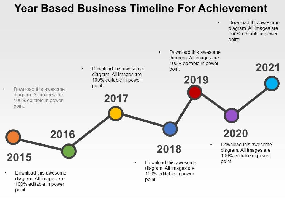 Year Based Business Timeline For Achievement Flat Powerpoint Design - sample business timeline