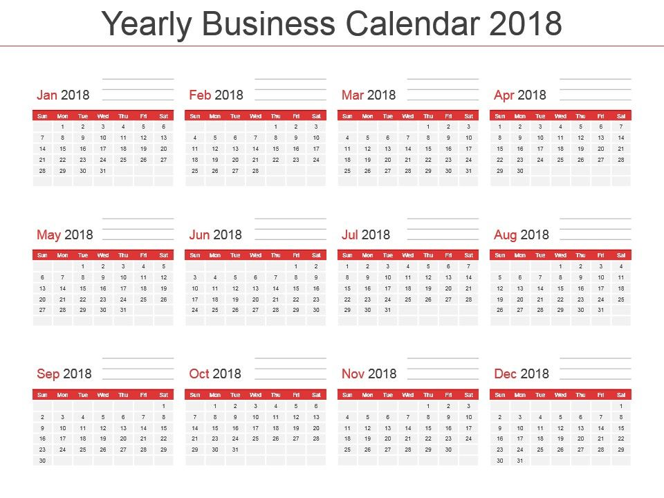 Yearly Business Calendar 2018 Powerpoint Template PowerPoint - powerpoint calendar template