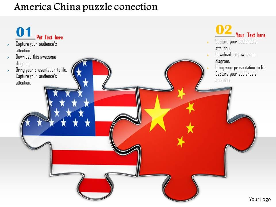 0814 Puzzles Made Of American And China Flags Shows Business