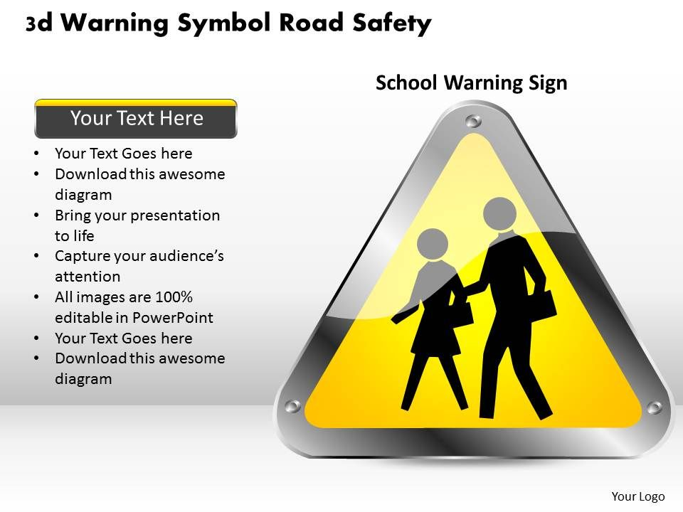 1114 3d Warning Symbol Road Safety Powerpoint Template