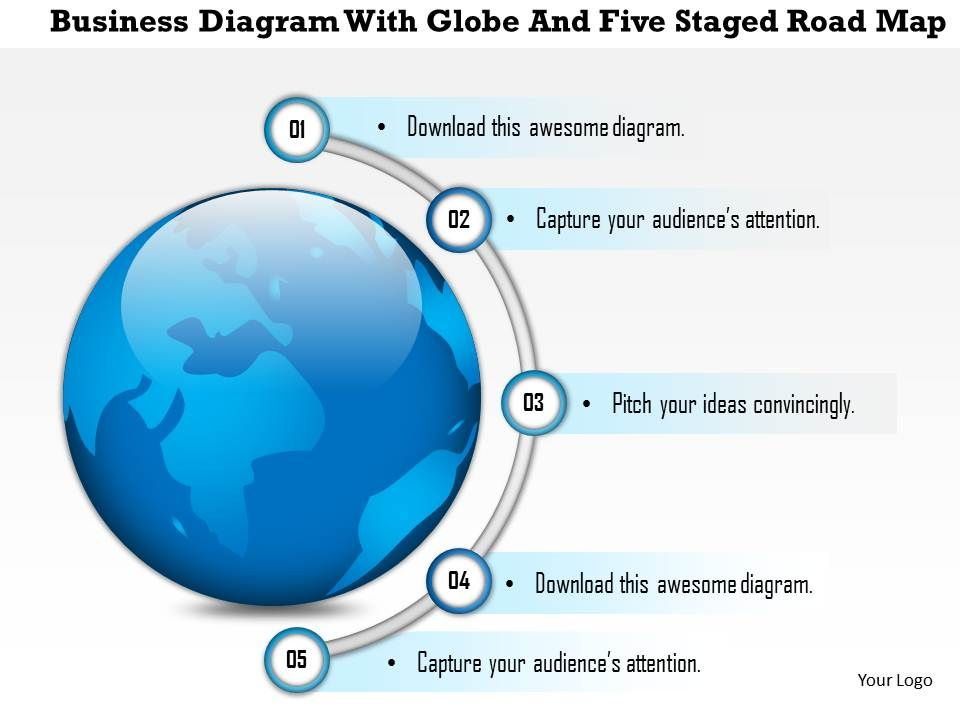 1214 Business Diagram With Globe And Five Staged Road Map PowerPoint