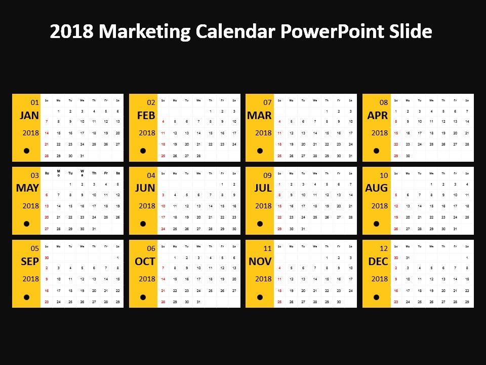 2018 Marketing Calendar Powerpoint Slide PowerPoint Templates