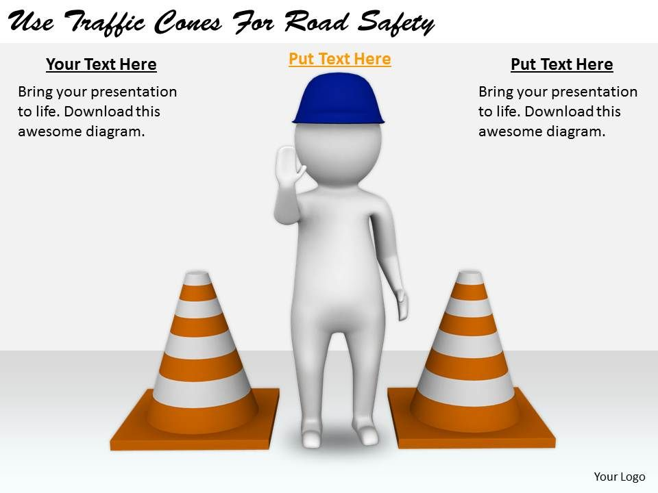 2413 Business Ppt Diagram Use Traffic Cones For Road Safety