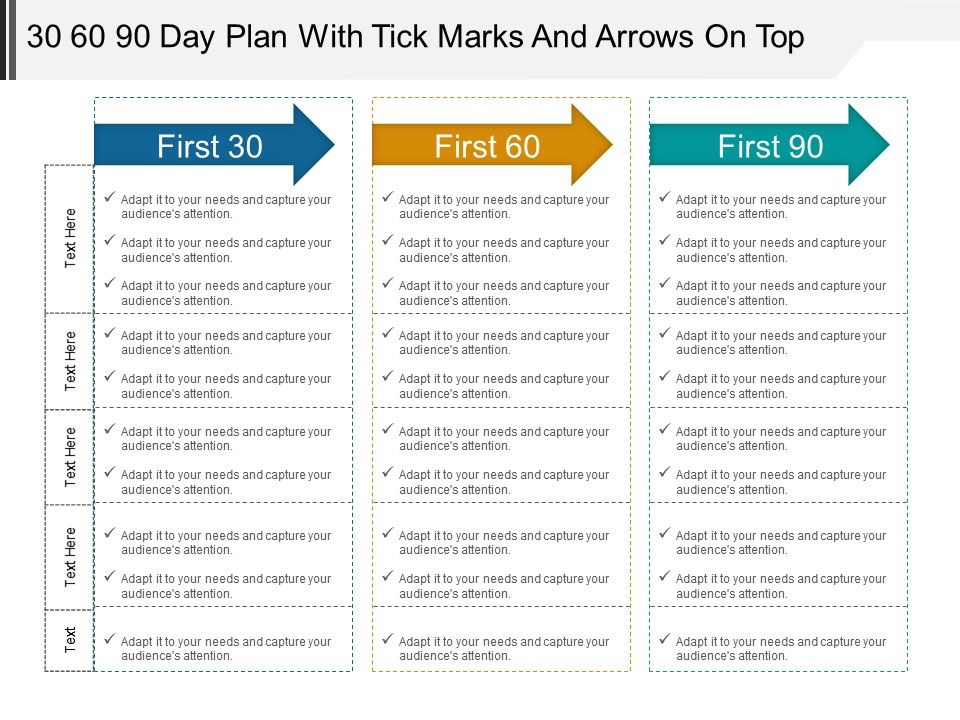 30 60 90 Day Plan With Tick Marks And Arrows On Top Powerpoint Ideas