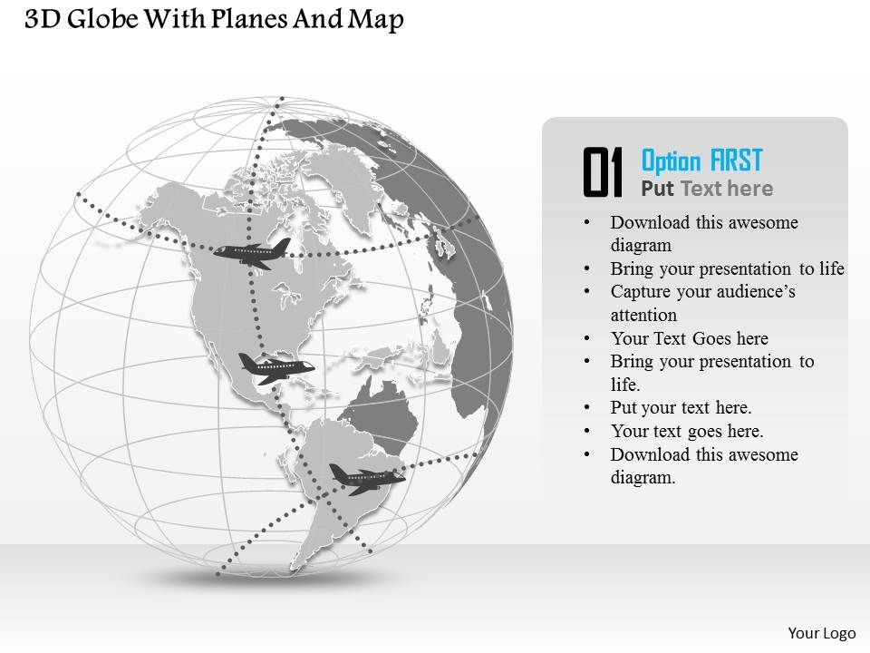 3D Globe With Planes And Map Ppt Presentation Slides Templates