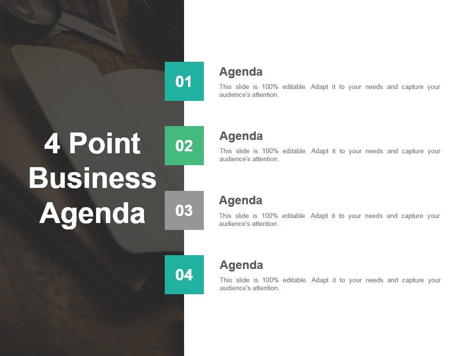 4 Point Business Agenda Powerpoint Slide Design Templates