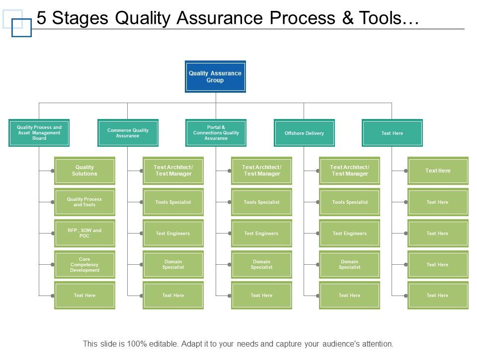 5 Stages Quality Assurance Process And Tools Org Chart PowerPoint