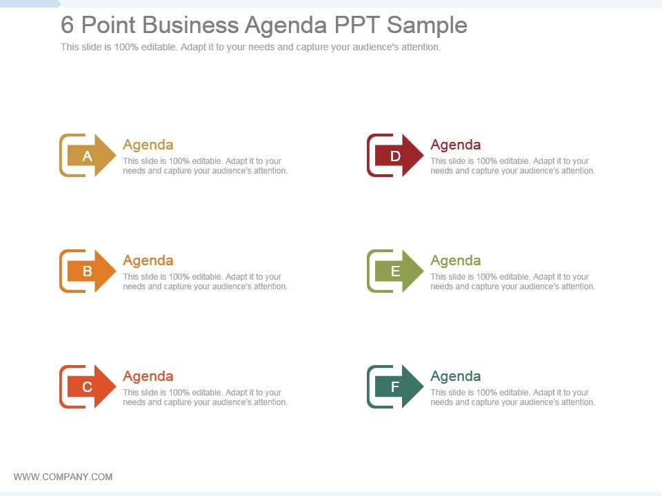 6 Point Business Agenda Ppt Sample Presentation PowerPoint