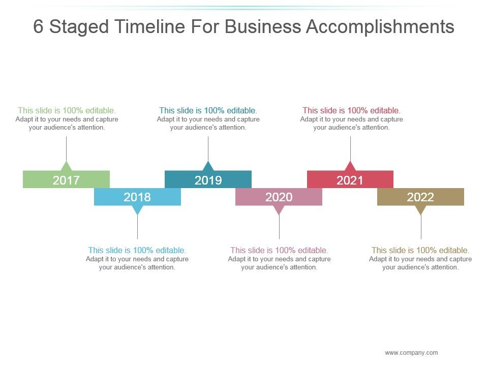 6 Staged Timeline For Business Accomplishments Ppt Templates