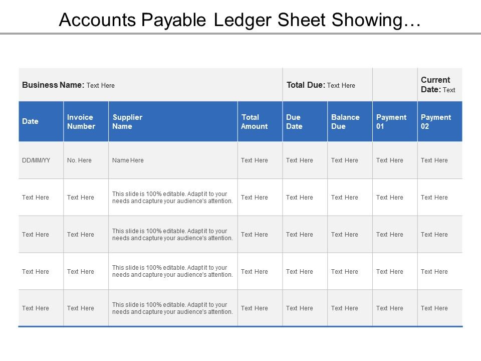 Accounts Payable Ledger Sheet Showing Supplier Name With Total