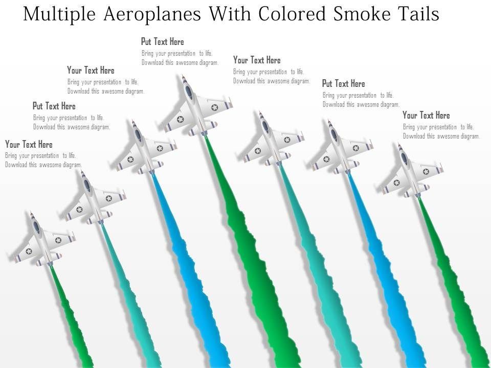 Bg Multiple Aeroplanes With Colored Smoke Tails Powerpoint Template