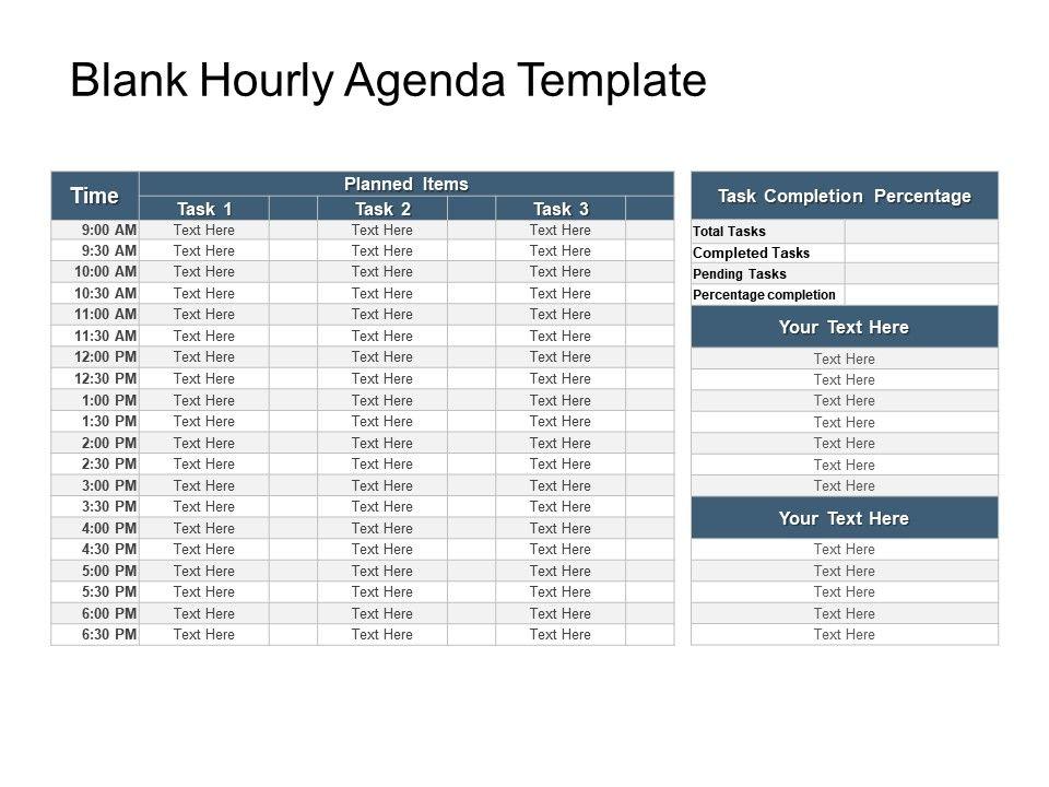 Blank Hourly Agenda Template Sample Of Ppt PowerPoint Slide