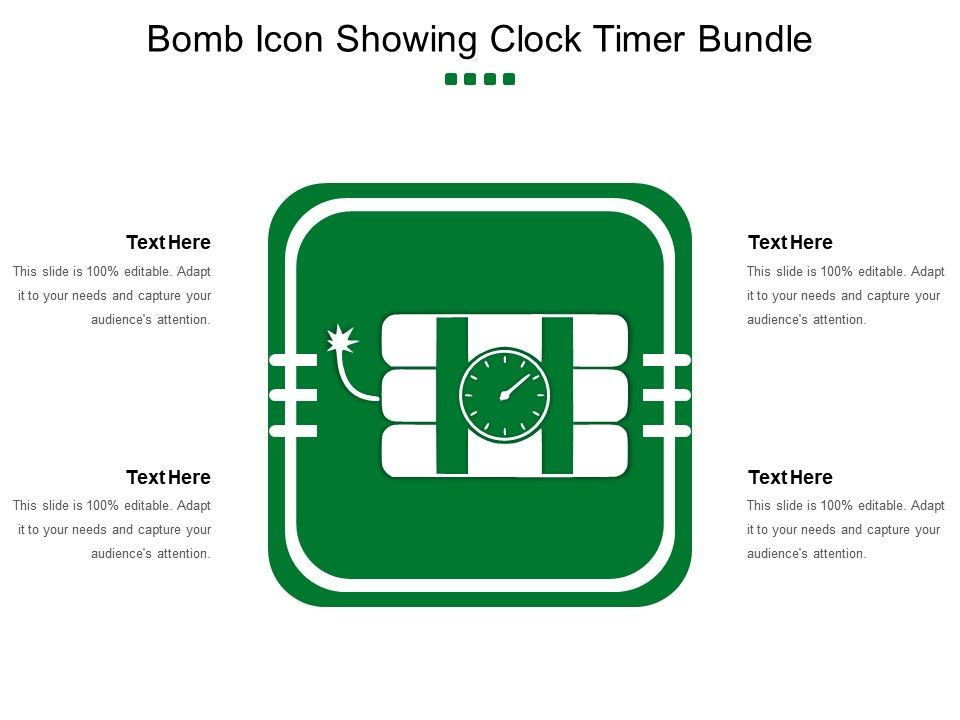 Bomb Icon Showing Clock Timer Bundle PowerPoint Slide Template