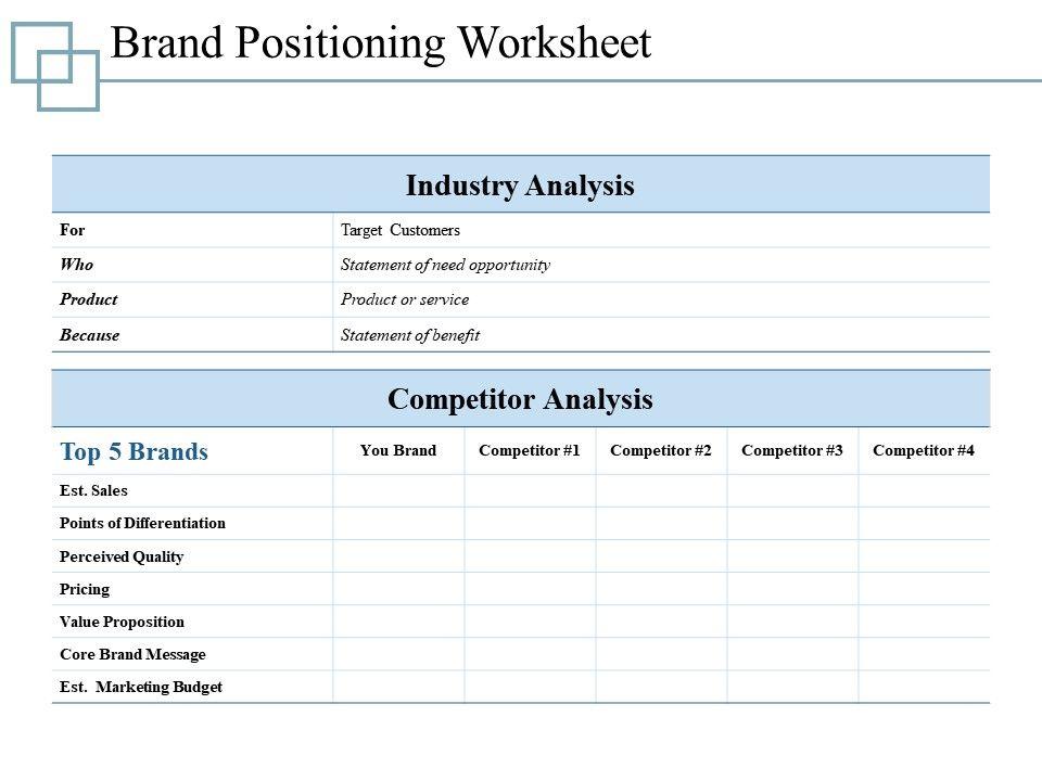 Brand Positioning Worksheet Presentation Ideas Template 1