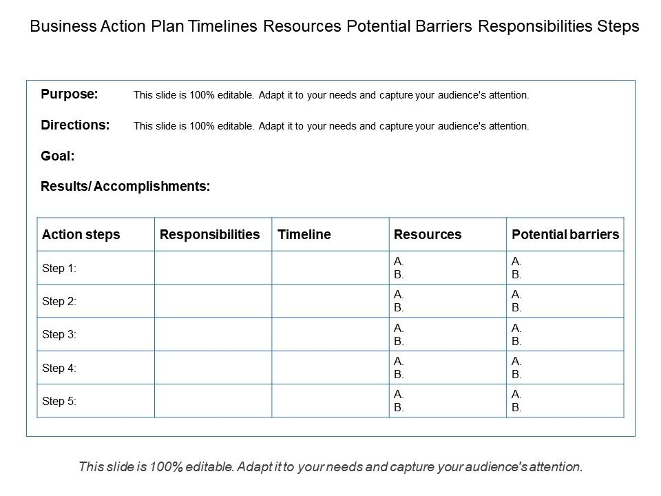 Business Action Plan Timelines Resources Potential Barriers