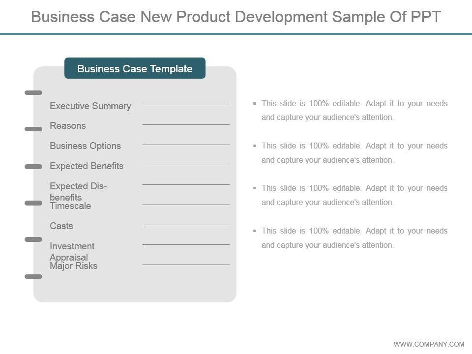 Business Case New Product Development Sample Of Ppt PowerPoint