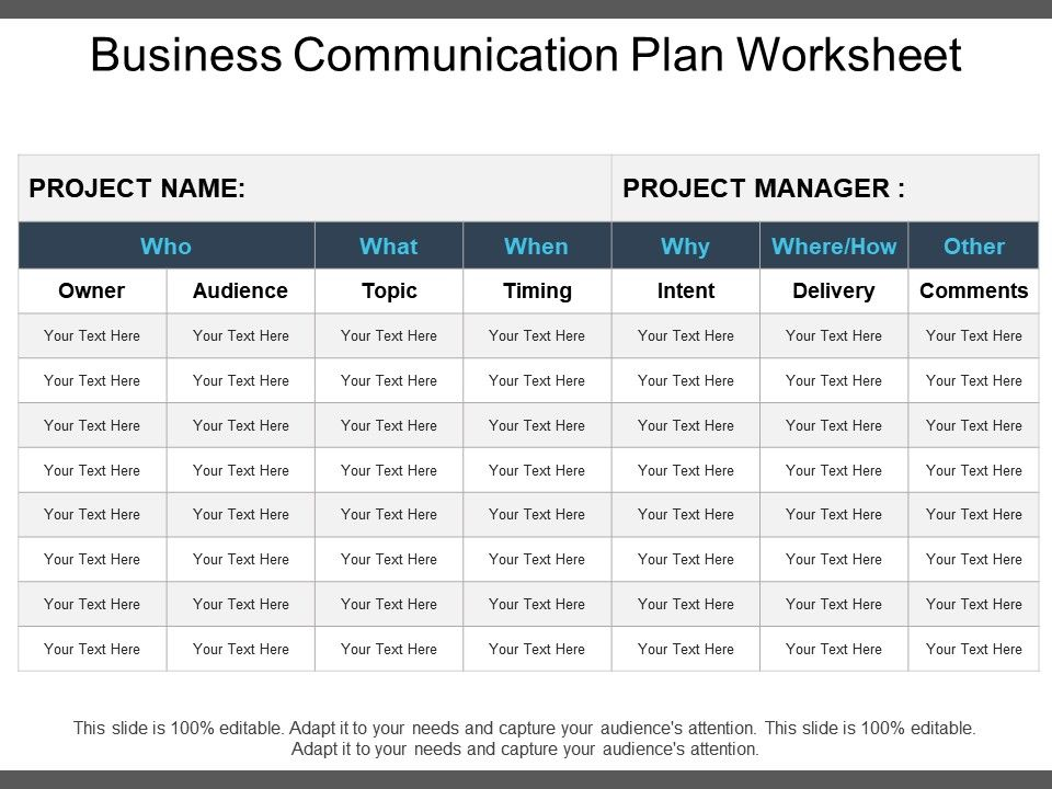 Business Communication Plan Worksheet Powerpoint Templates