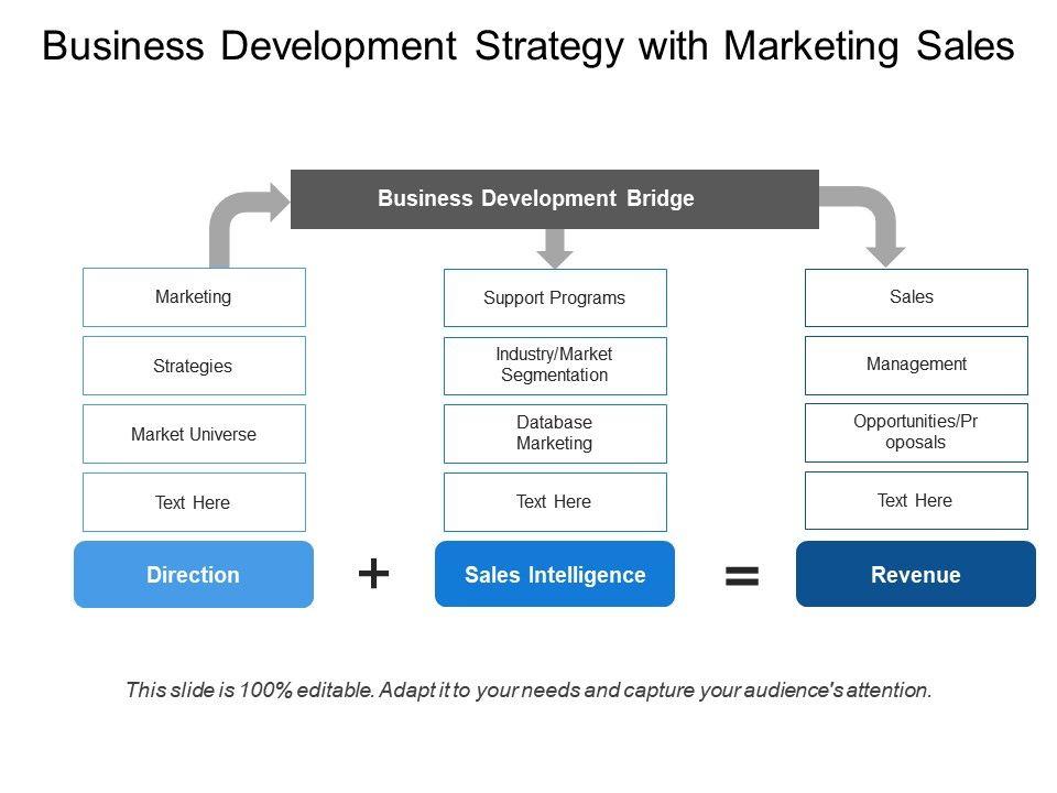 Business Development Strategy With Marketing Sales Presentation