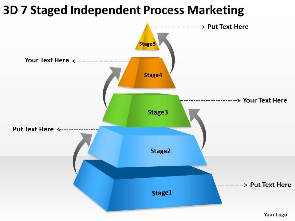 Business Logic Diagram 3d 7 Staged Independent Process Marketing