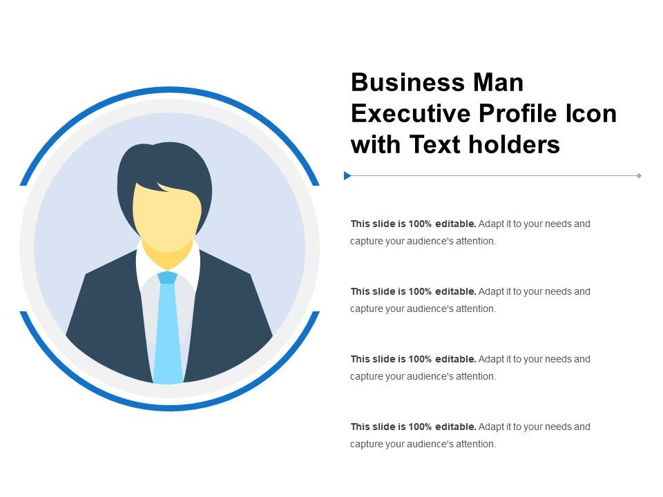 Business Man Executive Profile Icon With Text Holders PowerPoint