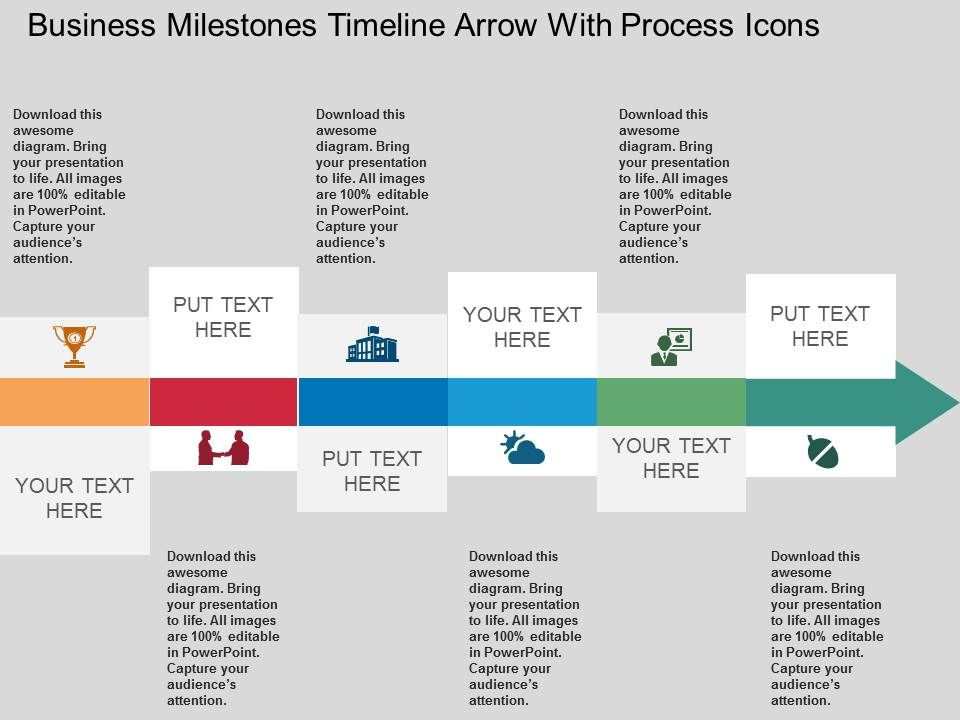 Ca Business Milestones Timeline Arrow With Process Icons Flat