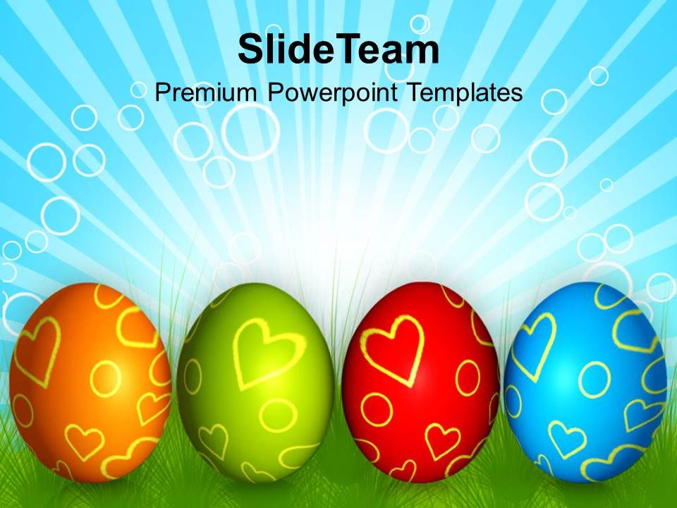 Church Easter Row Of Colorful Eggs Festival Powerpoint Templates Ppt