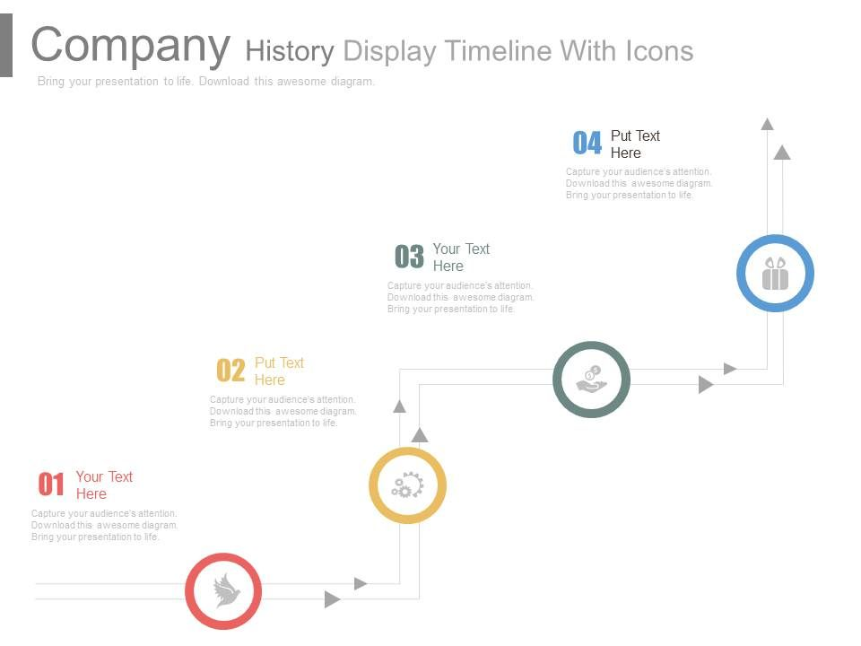 Company History Display Timeline With Icons Powerpoint Slides
