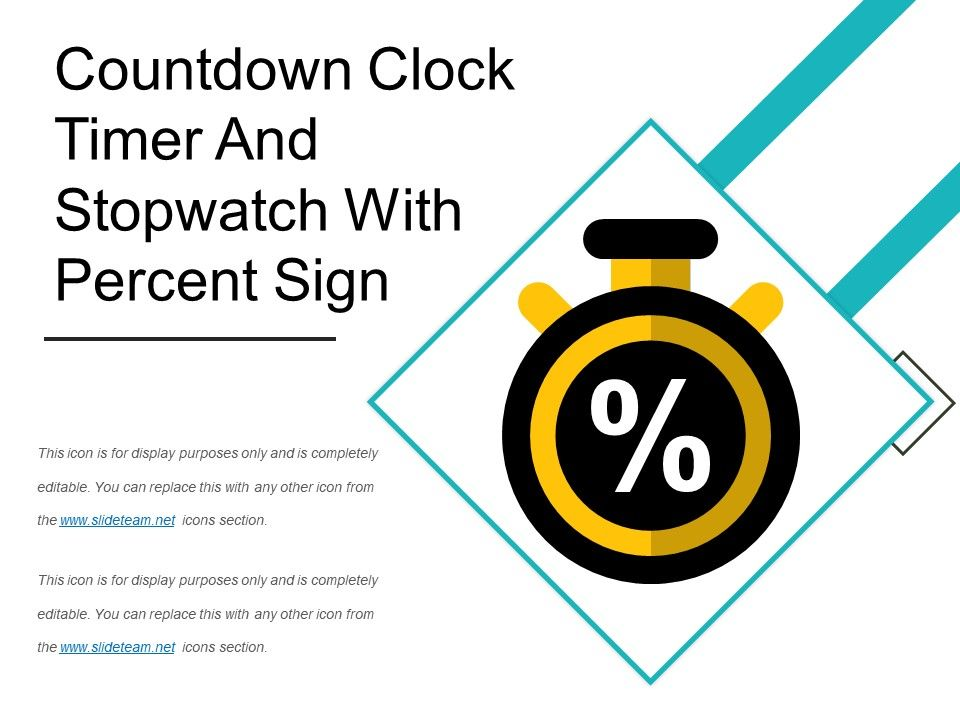 Countdown Clock Timer And Stopwatch With Percent Sign PowerPoint