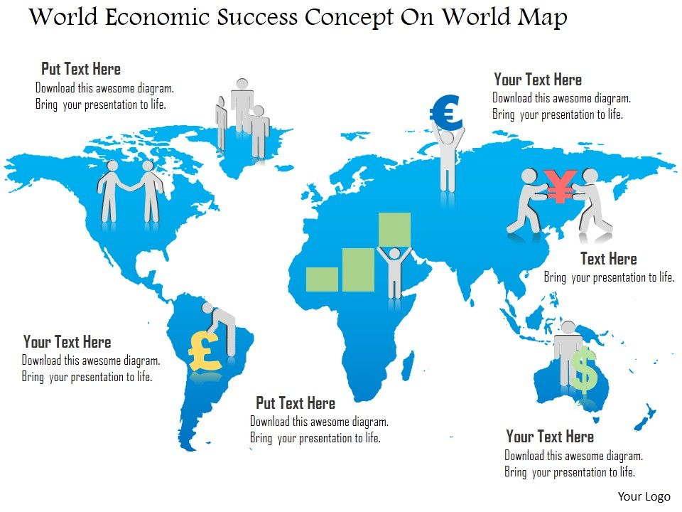 Cp World Economic Success Concept On World Map Powerpoint Template