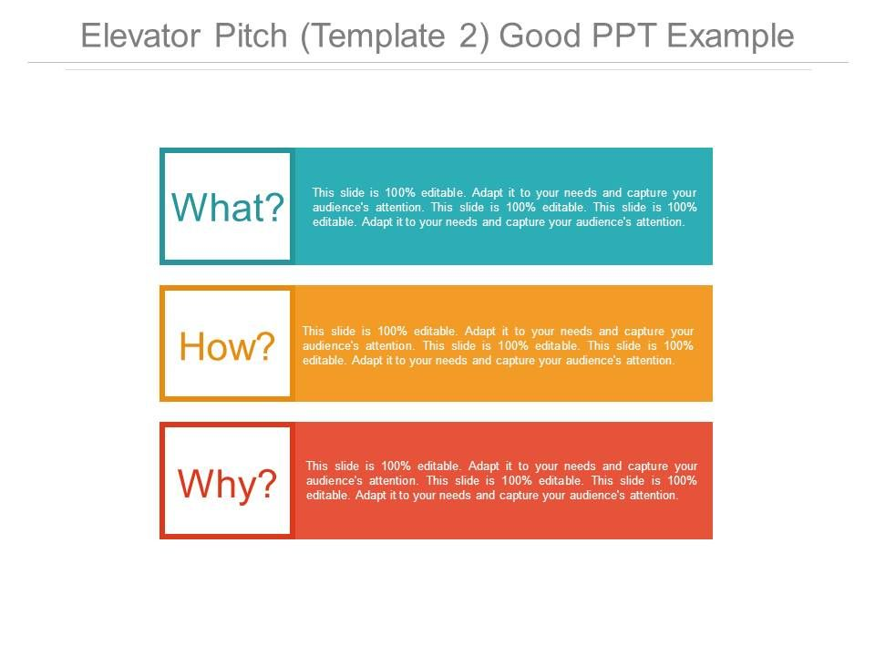 Elevator Pitch Template 2 Good Ppt Example Templates PowerPoint