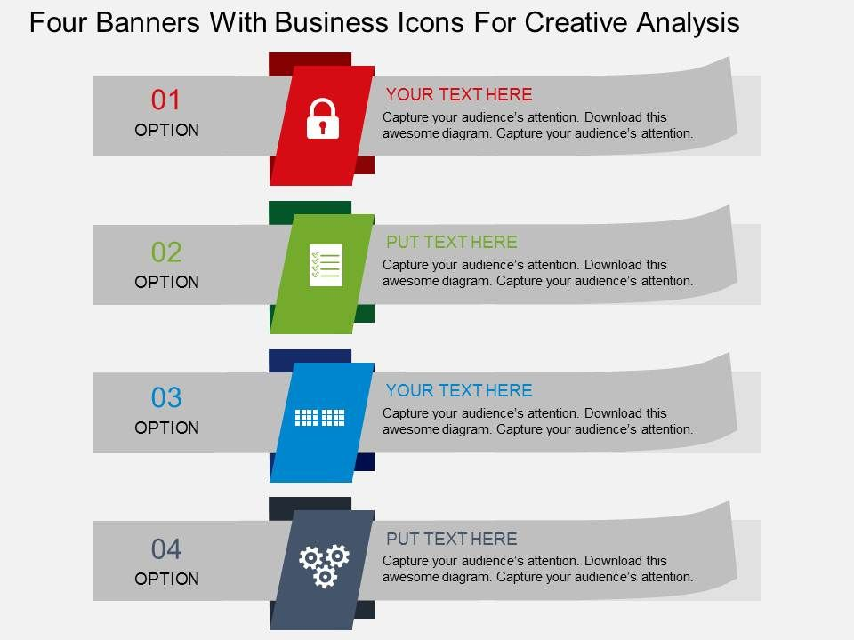 Four Banners With Business Icons For Creative Analysis Flat